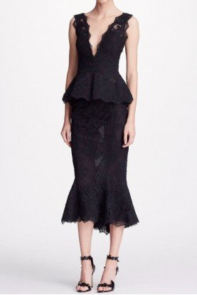 Marchesa Black 2 Piece Corded Lace Blouse Flounce Tea Skirt