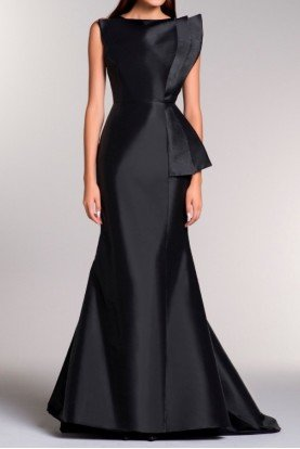 Black Sleeveless Taffeta Structured Geometric Gown