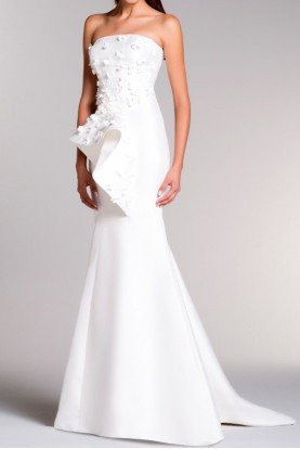 White Strapless Structured Taffeta Gown Dress