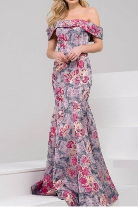 49982 Off Shoulder Print Mermaid Gown Prom Dress