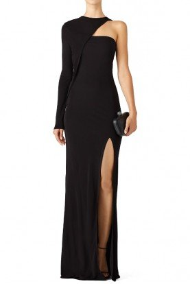 Black Asymmetrical One Shoulder Long Sleeve Gown
