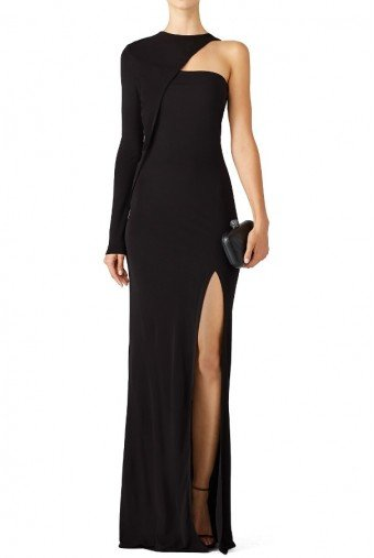 Cut 25 by Yigal Azrouel  Black Asymmetrical One Shoulder Long Sleeve Gown