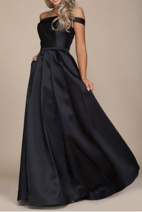C007 Burgundy Off Shoulder A Line Satin Ball Gown
