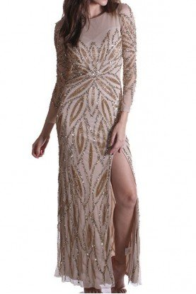 Nude Gold Beaded Sequin Long Sleeve Gown Dress
