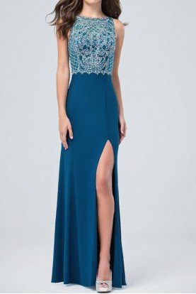 Sleeveless Beaded Elegant Gown Dress Teal Green