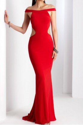 Red Off Shoulder Cutout Gown Dress w Open Back