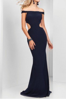 Navy Blue Off Shoulder Cutout Gown Mermaid Dress