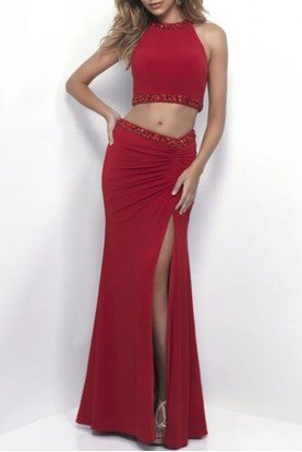 Red Two 2 Piece Beaded Long Gown Prom Dress 11284