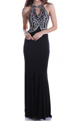 Black Beaded Cutout Gown Dress Open Back 2161