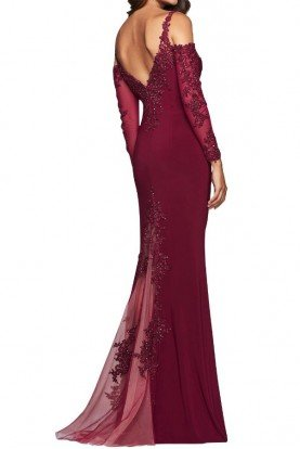 Faviana S10007 Wine Off Shoulder Lace Mermaid Gown Dress