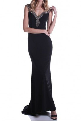 Elegant Black Jewel Beaded Sweetheart Gown Dress