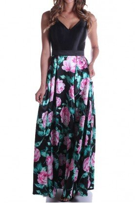 Lending Luxury Couture Black Floral Mikado Silk A Line Ball Gown Dress