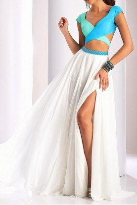 Clarisse Ivory Tiffany Blue Two 2 Piece Flowy Dress Gown