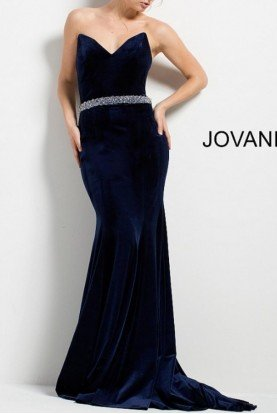 Navy Strapless Fitted Velvet Evening Dress 45983