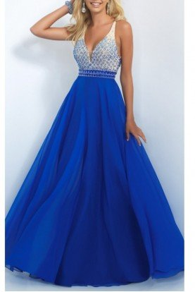 Blue Beaded Bodice A Line Ball Gown Dress 11029