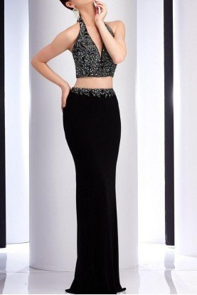 Black Beaded V Neck Two Piece Gown Prom Dress