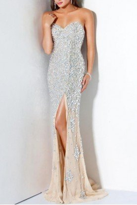 Jovani Strapless White Slit Gown with Gold Crystal Beads