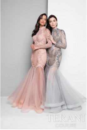 1712GL3579 Blush Beaded Lace Long Sleeve Gown