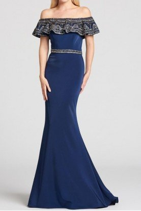 Ellie Wilde Navy Blue Off Shoulder Beaded Ruffle Evening Gown