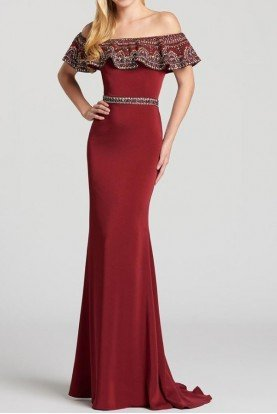 Wine Beaded Off The Shoulder Formal Evening Gown