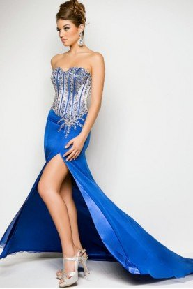 Blush Prom Royal Blue Beaded Strapless Prom Pageant Gown Dres