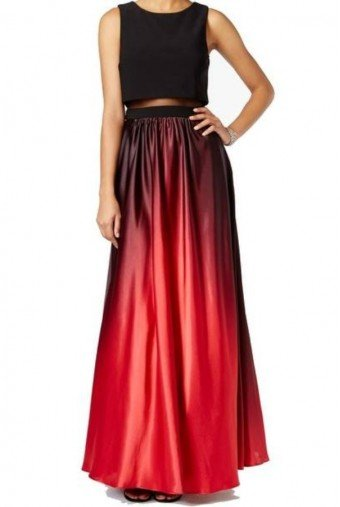Betsy and Adam  Ombre Red Black Ball Long Gown Evening Dress
