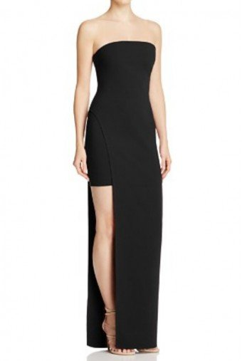 Likely Black Asymmetrical Strapless High Lo Evening Dress