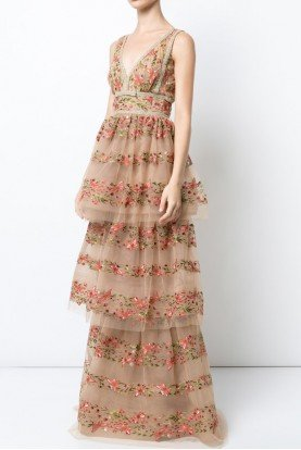 Tiered Gold Nude Sleeveless Floral Evening Gown