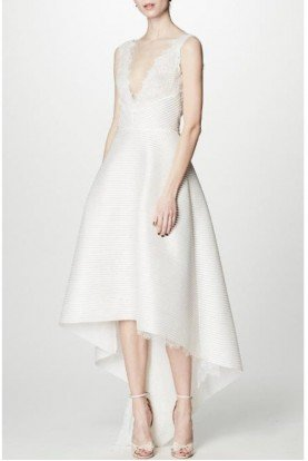 Sleeveless Ivory High Low Dress Bridal Gown