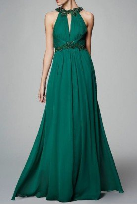 Emerald Green Sleeveless Chiffon Halter Gown