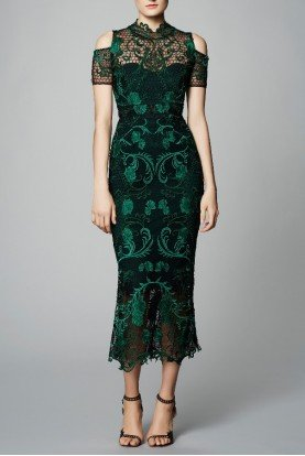 Dark Green Guipure Lace Tea Cocktail Dress