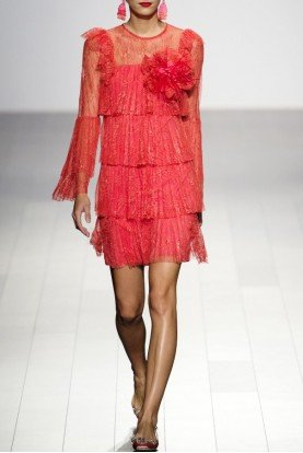 Red Long Sleeve Pleated Cocktail Dress