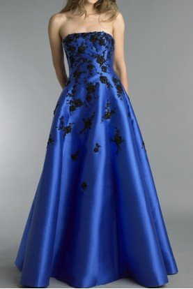 Royal Blue Strapless Floral A Line Evening Gown