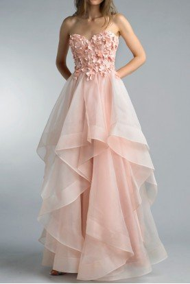 Blush Pink Strapless Tiered 3D Evening Gown Dress