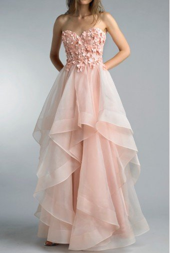 Basix Black Label Blush Pink Strapless Tiered 3D Evening Gown Dress