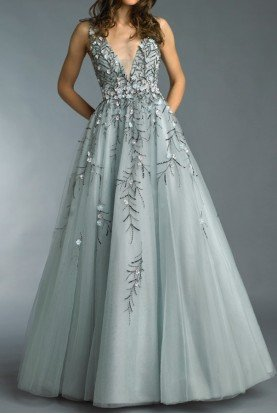Grey V Neck Floral 3D Applique Evening Gown Dress