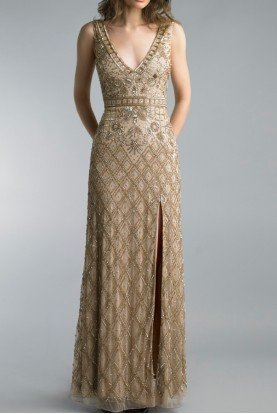 Gold Beaded Sleeveless Deep V Neck Evening Gown