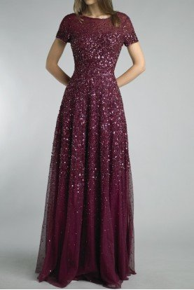 Burgundy Sequin Embellished Evening Gown Dress