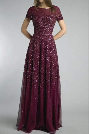 Basix Black Label Burgundy Sequin Embellished Evening Gown Dress