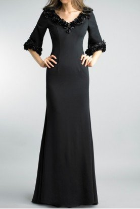 Basix Black Label Black Floral Applique Trim Evening Sleeve Gown