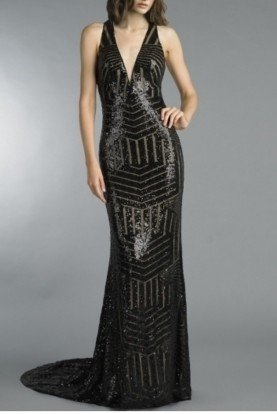 Basix Black Label Black Sleeveless Sequin Embellished Evening Gown