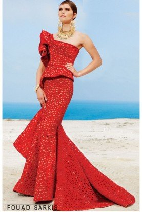 Red One Shoulder Structured Mermaid Gown