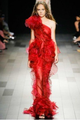 Red One Shoulder Flowy Tulle Evening Gown Dress