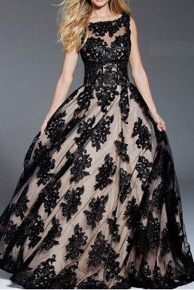Black Nude Embroidered Tulle Sleeveless Ball Gown