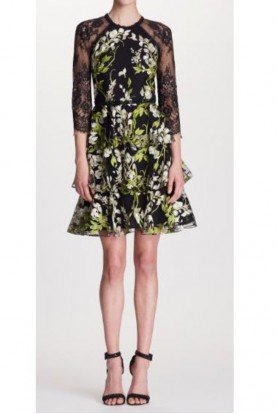 Black Yellow Sleeve Embroidered Cocktail Dress