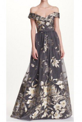 Marchesa Notte Silver Floral Off the Shoulder Evening Gown