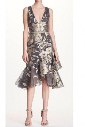 Marchesa Notte Silver Floral Sleeveless Deep V Cocktail A Dress