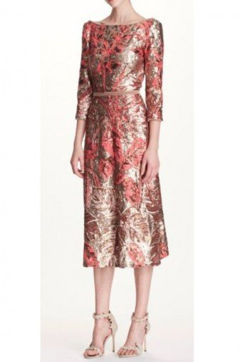 Marchesa Notte Gold Sequin Sleeve Midi Tea Dress