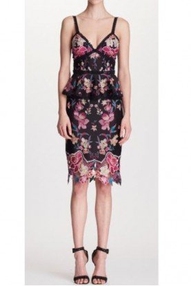 Marchesa Notte Black Sleeveless Embroidered Cocktail Dress
