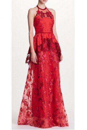 Marchesa Notte Sleeveless Halter Neck Evening Gown